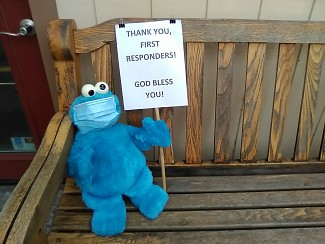 Cookie Monster is grateful for his new friends